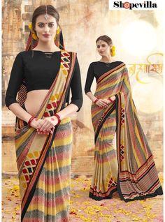 Multi Colour Pure Crepe Casual Wear Saree-260