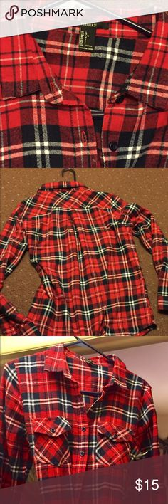 Flannel Long Sleeve Shirt Flannel s shirt from forever 21 red and blue and white might be black new never worn size large 191/2 - 20 inches across 28 inches from top to bottom Forever 21 Tops Button Down Shirts