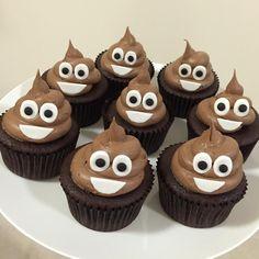 Poop Emoji Cupcakes ~ my mom will make these! OMG SO CUTE!!
