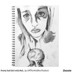 Pretty Sad Girl with Melting Ice Cream Cone Sketch Notebook