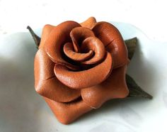 Country Rose Leather Brooch Vintage Leather Pin by 3OldeBroads, $18.00