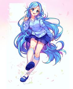 ♦ Celshading fullbody commission for BlueBri Woah what a pleasure to draw her non chibi! Super love her long blue hair~ I can't really understand why, but shading blue is very pleasing &#9829...