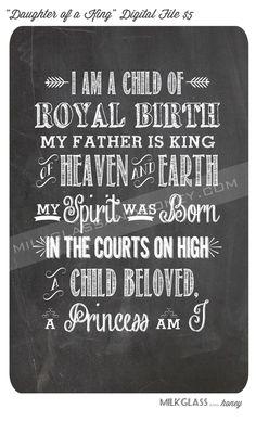 """""""Daughter of a King"""" large chalkboard printable. Buy the digital download for $5. Via Milkglassandhoney.com"""
