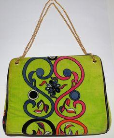 Vintage Emilo Pucci Retro Green Modern Handbag Clutch By JANA ITALY #EmilioPucci #Clutch