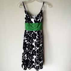 Max Studio Dress 100% cotton, adjustable straps, elastic in the back and green material ties in the back. Max Studio Dresses