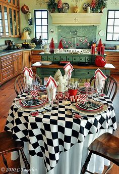 Red Black White Checker Print Stripes Christmas Dining Table