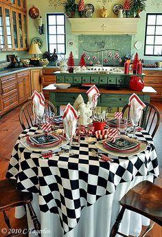 red, black, white - checker print, stripes, christmas