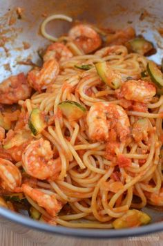 Slimming Eats Spicy Shrimp Pasta - gluten free, dairy free, Slimming World and Weight Watchers friendly