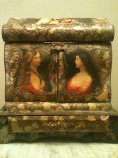 Victorian Era Museum Quality Vanity dresser box 1850-90 velvet, portraiture   eBay