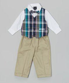 Navy Plaid Four-Piece Vest Set - Infant