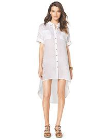 T87BV MICHAEL Michael Kors  Easy High-Low Shirtdress