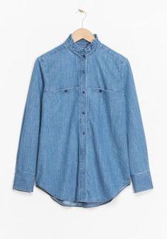 & Other Stories Ruffle Collar Chambray Shirt in Blue Winter Wardrobe, My Wardrobe, Denim Button Up, Button Up Shirts, Denim Shirts, Indigo, Pool Fashion, Women's Fashion, Ruffle Collar