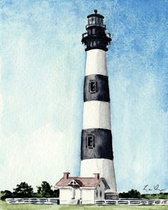 Bodie Island Lighthouse Giclee Print of by LauraRowStudio on Etsy