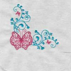 Free Embroidery Design: Butterfly Corner