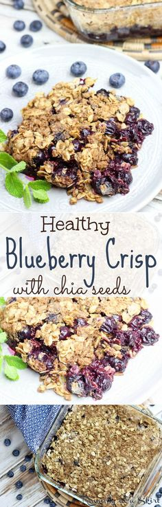 Healthy Blueberry Crisp with chia seeds. A tasty, easy variation on blueberry cobbler. Wonderful summer desserts!  Skinny and guilt-free! | Running in a Skirt