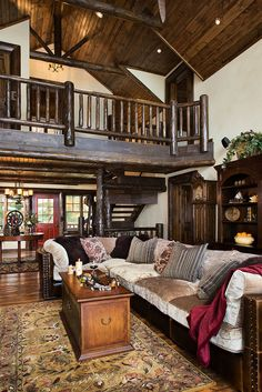 Be inspired to design your own custom wood home. Take a tour of the Nicolet by Expedition Log Homes Log Cabin Living, Log Cabin Homes, Cabin Loft, Cabin House Plans, Log Cabins, Cabana, Timber House, My Living Room, Living Spaces