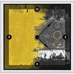 This retro clock art adds a pop of color to your wall. Its black, yellow and gray tones make a strong visual statement that everyone will be sure to notice. Featuring a quartz movement, this abstract art clock keeps you right on time.