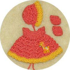 """Thread Crochet Dress, Bonnet & Booties fits 4.5"""" OOAK Clay Bisque Babies #4214"""