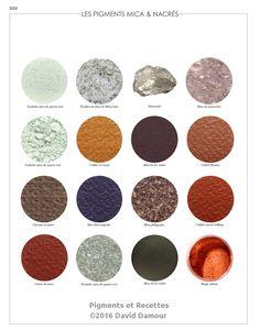 Les pigments Micas et nacrés du livre Pigments et Recettes Les secrets du métier de l'artiste peintre du XXIe disponible sur https://pigmentsrecettes.com