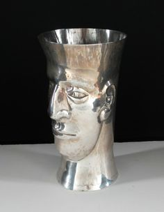 Peruvian Repousse STERLING Hand Wrought Silver Vase : Lot 205