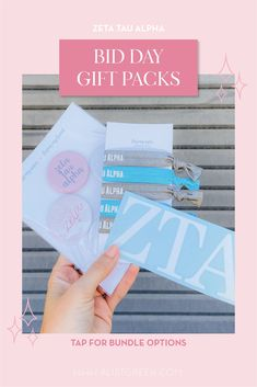 Spoil your new members this recruitment with the Newbie Love bundle! Gift bag includes a sorority decal, hair tie set, and button set. Zeta Tau Alpha Gifts | Zeta Tau Alpha Bid Day | ZTA New Member Gifts | Zeta Phi Rush Gift Bags | Zeta Tau Alpha Recruitment | Sorority Bid Day | Sorority Recruitment | Bid Day Bags | Sorority New Member Gift Ideas #BidDayGifts #SororityRecruitment