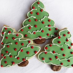 Christmas Tree Sugar Cookies, It's my own sugar cookie recipe decorated with almond royal icing!