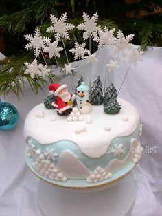 Christmas Xmas cake Father Christmas Santa snowman snowflakes blue