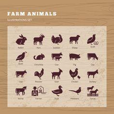 Conjunto de siluetas de animales de gran... | Premium Vector #Freepik #vector #diseno #animal #granja #animales Farmer Duck, Vector Freepik, Chinchilla, Farm Animals, Sheep, Goats, Horses, Illustration, Poster