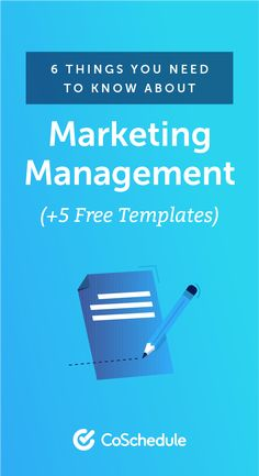 6 Things You Need To Know About Marketing Management (+ 4 Templates) Content Marketing Strategy, Marketing Tools, Social Media Marketing, Marketing Calendar, Blog Topics, Need To Know, Things To Think About, Management, Templates