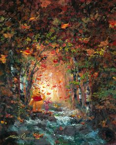 Winnie the Pooh - Forest Brook in Fall - Piglet - Original by James Coleman presented by World Wide Art Winnie The Pooh Pictures, Cute Winnie The Pooh, Winne The Pooh, Winnie The Pooh Quotes, Disney Kunst, Arte Disney, Thomas Kinkade Disney, Hundred Acre Woods, Disney Fine Art
