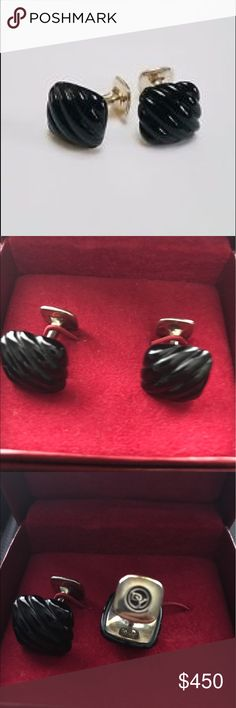 """David Yurman Onyx .925 sterling silver cufflinks NWOT  Never worn  Gold plating Need polishing  PRODUCT SPECIFICATION:   Designer: David Yurman  Condition: New without Tags Stone: Black Onyx Dimensions: Approximately 11/16"""" x 11/16"""" Metal Type: Sterling Silver Metal Purity: .925 Total Gram Weight: 17g David Yurman Accessories Cuff Links"""