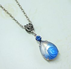 Sapphire Blue Necklace Pendant Blue Rose by dfoxjewelrydesigns