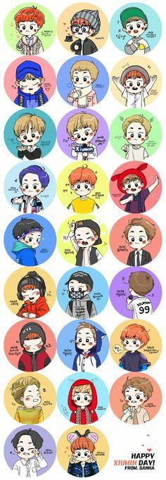 Such a cutiee xiumin is Kim Minseok Exo, Exo Xiumin, Exo Stickers, Exo Fan Art, Sanha, Exo Members, Cute Korean, Kpop Fanart, Cartoon Wallpaper