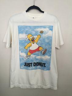 Simpsons shirt 90s Homer Simpson shirt ironic t shirt 90s vintage clothing just donut t-shit Nike spoof tshirt white tee medium   vintage 1996 Homer