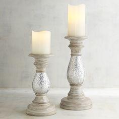 Pierced Metal Pillar Candle Holders White Wash