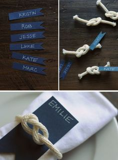 Table Decoration Wedding - Brands put on the theme of sea and boats - Tischdeko Hochzeit - Yacht wedding Wedding Tags, Wedding Place Cards, Diy Wedding, Rustic Wedding, Wedding Ideas, Nautical Party, Nautical Wedding, Nautical Wreath, Rock Climbing Party