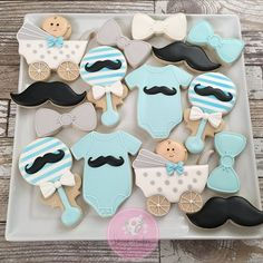 """I """"mustache"""" you a question?  Simple and sweet for a baby 🏻☔️⭐️🌜☀️shower celebration this weekend. Baby Shower Activities, Boy Baby Shower Themes, Baby Boy Shower, Baby Shower Decorations, Baby Showers, Baby Cookies, Baby Shower Cookies, Shower Cake, Angel Baby Shower"""