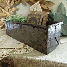 Vintage Industrial Metal Baking Pan / Planter