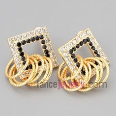 Nice stud earrings with zinc alloy decorated black and white rhinestone and rings