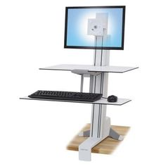 Ergotron WorkFit-S Sit-Stand Workstation w/Worksurface+, LCD LD Monitor, White