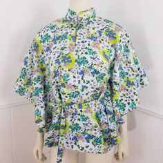 60693c10737 Vintage Keone Hawaiian Shirt Blouse One Size Batwing Tunic Belt Floral  Mandarin Collar Aloha Blue Purple Frog Button