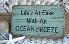 Handpainted Beach Sign Life's At Ease With An Ocean Breeze Carova Beach Crafts - DIY and Crafts