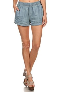 Vialumi Womens Juniors Short Elastic Waist Band Jean Shorts Medium Denim Small ** Read more reviews of the product by visiting the link on the image.
