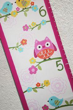 Custom Growth Chart Canvas Owls Birds Flowers by SweetDreamMurals