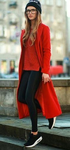 red & black in casual