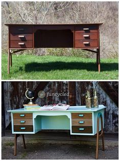 Aqua Ombre Mid Century Desk - my top ten favorite furniture makeovers in 2014 - FunCycled  www.funcycled.com