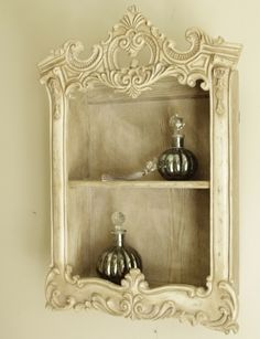 Limed oak ornate wall cabinet shelf cream distressed wooden two ivory