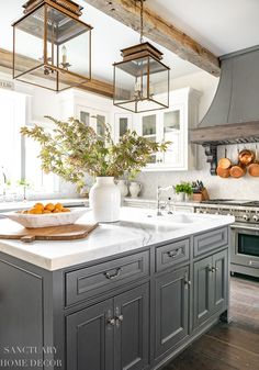 The very first thing I like to do as fall approaches is bring a bit of the outdoors inside, so with that in mind, I wanted to share some ideas about how to decorate with fall branches. Interior Modern, Home Design, Modern Farmhouse Design, Modern Rustic, Farmhouse Style, All White Kitchen, Living Room Accents, White Rooms, Small Tables