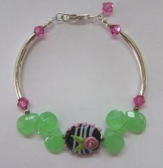 Sterling Silver, Swarovski Crystal and Lampwork Bracelet-bracelet, swarovski crystals, glass, briolettes, sterling silver, lampwork, beads