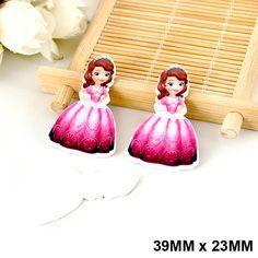 50pcs/lot Cartoon Red Dress Princess Sofia Flat Back Resin Kawaii DIY Planar Resin Crafts for Home Decoration Accessories DL-515